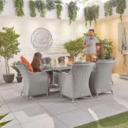 Heritage Camilla 6 Seat Dining Set - 1.5m x 1m Rectangular Table - White Wash
