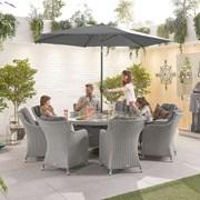Heritage Camilla 8 Seat Dining Set - 1.8m Round Table - White Wash