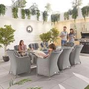 Heritage Camilla 8 Seat Dining Set - 2m x 1m Rectangular Table - White Wash