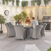Heritage Camilla 8 Seat Dining Set with Fire Pit - 1.8m Round Table - White Wash