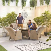 Heritage Carolina 4 Seat Dining Set - 1.2m Round Table - Willow