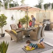 Heritage Carolina 6 Seat Dining Set - 1.5m x 1m Rectangular Table - Willow