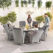 Heritage Carolina 8 Seat Dining Set - 1.8m Round Table - White Wash