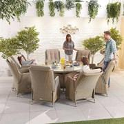 Heritage Carolina 8 Seat Dining Set - 1.8m Round Table - Willow