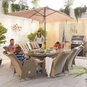 Heritage Carolina 8 Seat Dining Set - 2.3m x 1.2m Oval Table - Willow