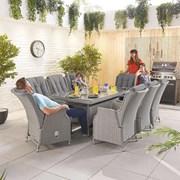 Heritage Carolina 8 Seat Dining Set - 2m x 1m Rectangular Table - White Wash