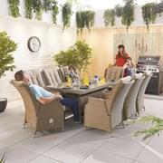 Heritage Carolina 8 Seat Dining Set - 2m x 1m Rectangular Table - Willow