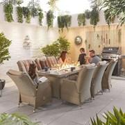 Heritage Carolina 8 Seat Dining Set & Fire Pit 2m x 1m Rectangular Table Willow