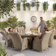 Heritage Carolina 8 Seat Dining Set with Fire Pit - 1.8m Round Table - Willow