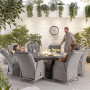 Heritage Carolina 8 Seat Dining Set with Fire Pit 1.8m Round Table White Wash