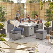 Heritage Ciara Compact Corner Dining Set with Fire Pit Table - White Wash