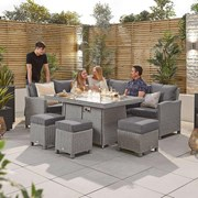 Heritage Ciara Corner Dining Set with Fire Pit Table - Left Hand - White Wash