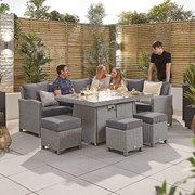 Heritage Ciara Corner Dining Set with Fire Pit Table - Right Hand - White Wash