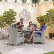 Heritage Leeanna 4 Seat Dining Set - 1.2m Round Table - White Wash