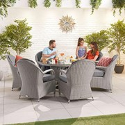 Heritage Leeanna 6 Seat Dining Set - 1.35m Round Table - White Wash