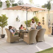 Heritage Leeanna 6 Seat Dining Set - 1.5m x 1m Rectangular Table - Willow