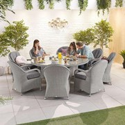 Heritage Leeanna 8 Seat Dining Set - 1.8m Round Table - White Wash