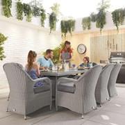 Heritage Leeanna 8 Seat Dining Set - 2m x 1m Rectangular Table - White Wash