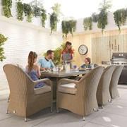 Heritage Leeanna 8 Seat Dining Set - 2m x 1m Rectangular Table - Willow