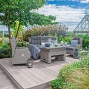 Heritage Skylar Sofa Dining Set with Rising Table - 3 Seater - White Wash