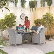 Heritage Thalia 4 Seat Dining Set - 1.2m Round Table - White Wash