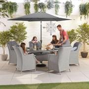 Heritage Thalia 6 Seat Dining Set - 1.8m x 1.2m Oval Table - White Wash