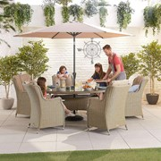 Heritage Thalia 6 Seat Dining Set - 1.8m x 1.2m Oval Table - Willow