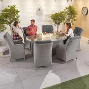 Heritage Thalia 6 Seat Dining Set & Fire Pit 1.8m x 1.2m Oval Table White Wash