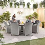 Heritage Thalia 8 Seat Dining Set - 1.8m Round Table - White Wash