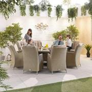 Heritage Thalia 8 Seat Dining Set - 1.8m Round Table - Willow