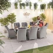 Heritage Thalia 8 Seat Dining Set - 2.3m x 1.2m Oval Table - White Wash