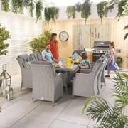 Heritage Thalia 8 Seat Dining Set - 2m x 1m Rectangular Table - White Wash