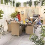 Heritage Thalia 8 Seat Dining Set - 2m x 1m Rectangular Table - Willow