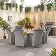 Heritage Thalia 8 Seat Dining Set with Fire Pit - 1.8m Round Table - White Wash