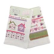 3pk Home Sweet Home Tea Towels (KTS107054)