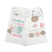 Tea & Biscuits Design Tea Towel 3pk (KTS197031)