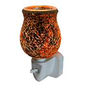 Burnt Orange Crackle Tulip Mosaic Wax Warmer (L-7123)