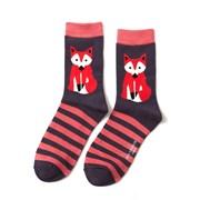 Miss Sparrow Fox & Stripes Socks Navy (SKS178NAVY)