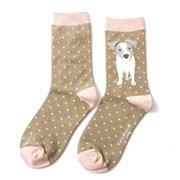 Miss Sparrow Jack Russell Pup Socks Olive (SKS172OLIVE)