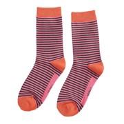 Miss Sparrow Mini Stripes Socks Grey & B/pink (SKS201GREY&BRIGHTPINK)