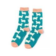 Miss Sparrow Spaniels Socks Teal (SKS211TEAL)