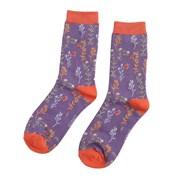 Miss Sparrow Wild Flowers Socks Purple (SKS194PURPLE)
