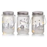 Premier Frosted Lit Glass Jar With Printed Design 3 Asst 14cm (LB213077)