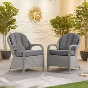 Leeanna Rattan Dining Chairs - Pair - White Wash