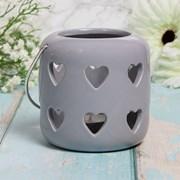 Hearts Lantern Grey 10cm (LP47151)