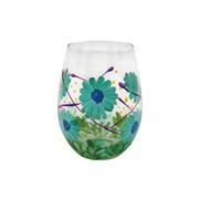 Blue Gerbera Stemless Glass (LP47374)