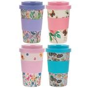 Bamboo Floral Travel Mug 4 Asstd (LP87085)