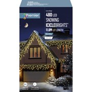 Premier 480 Led Snowing Icicles W/timer Warm White (LV162184WW)