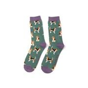 Mr Heron Beagle Pups Socks Green (MH183GREEN)