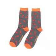 Mr Heron Lobster Socks Grey (MH178GREY)